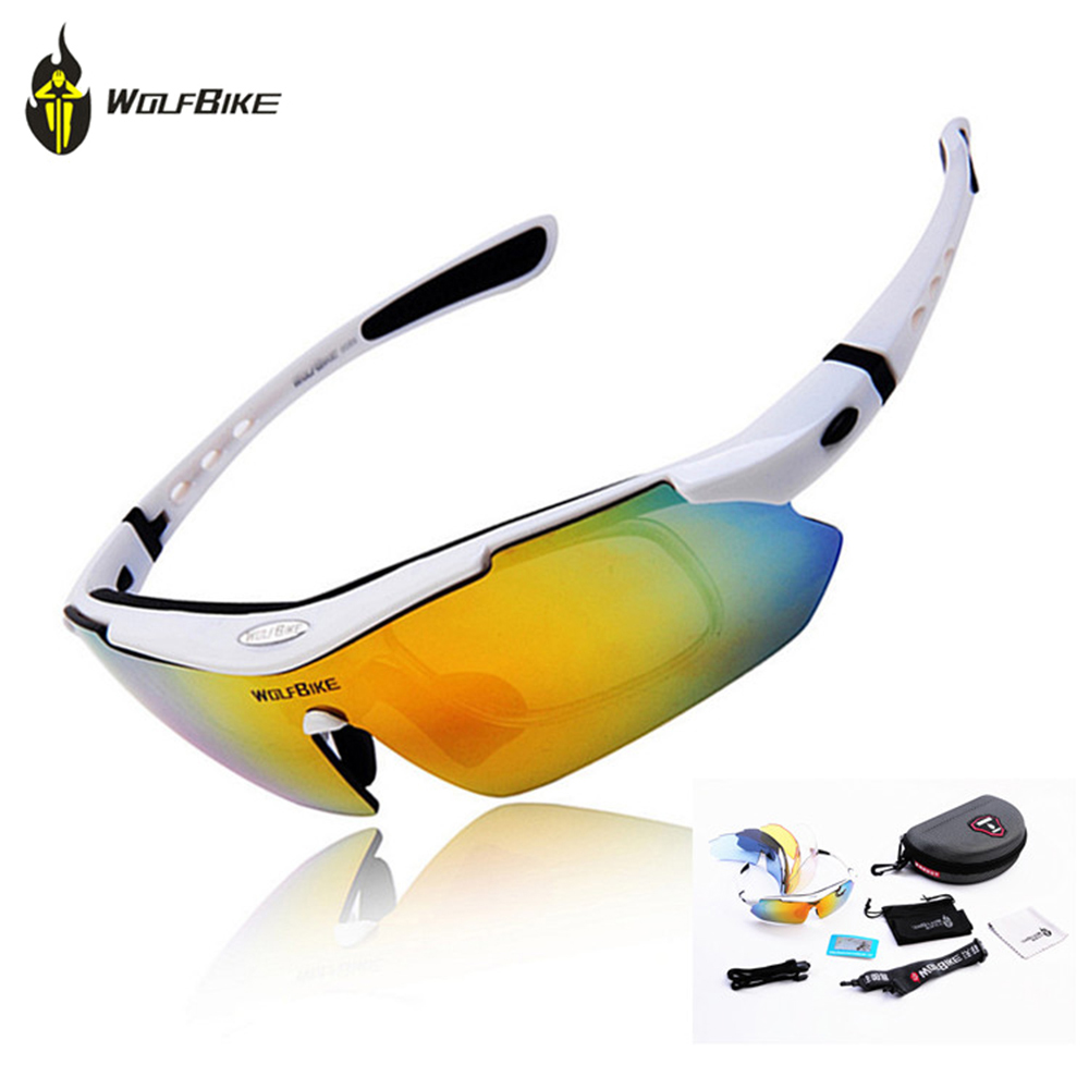 WOLFBIKE Polarized Cycling <font><b>Glasses</b></font> Bicycle Running MTB Road <font><b>Bike</b></font> Fishing Eyewear Goggles Outdoor Cycling Sunglasses, <font><b>5</b></font> <font><b>Lens</b></font> image
