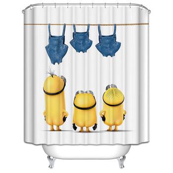 Żółte zasłony prysznicowe psotne miniony seria zasłony prysznicowe zasłona wanny poliester wodoodporna kurtyna łazienkowa Grinch tanie i dobre opinie LiuYueHuaCai Y-1120 Nowoczesne Ekologiczne cartoon Yellow Shower as the picture shows Polyester fiber See details modern