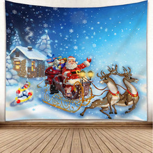 цены Christmas Tapestry Polyester Christmas Wall Blanket Living Room Home Print Wall Fabric Hotel Christmas Decoration Tapestry