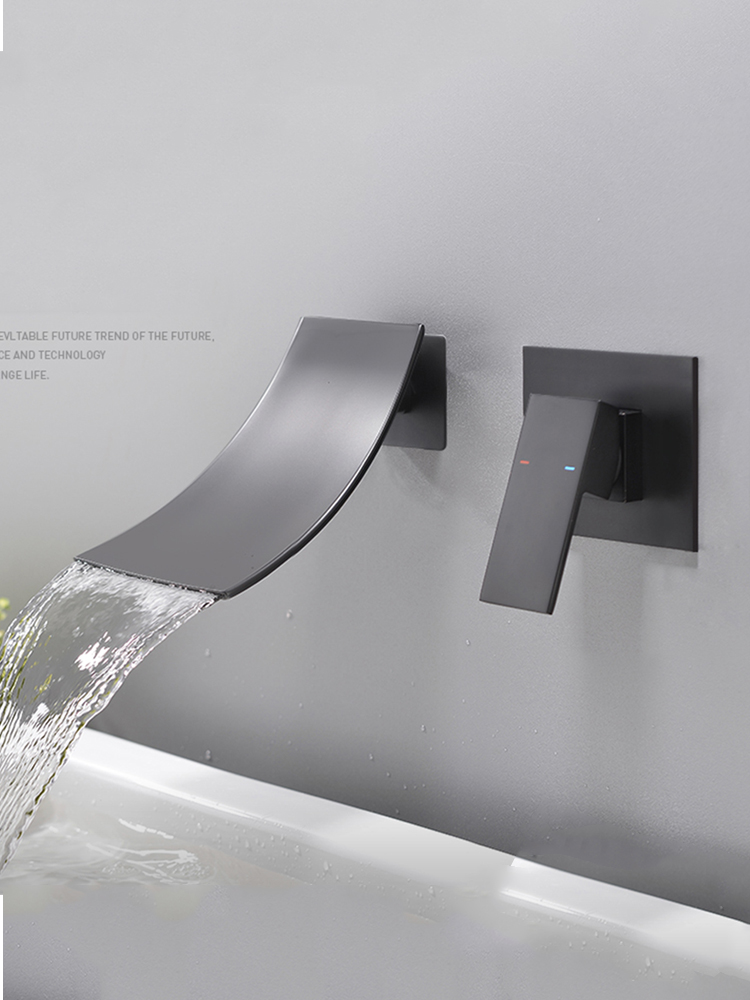 Faucet Bathroom Washbasin-Sink-Mixer Wall-Installation Natural-Waterfall Chrome Bronze