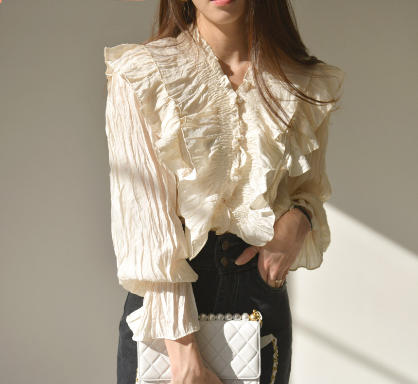H6d63958e50664491ad9fd54b0c3789ed4 - Spring / Autumn V-Neck Long Sleeves Ruffles Pleated Solid Blouse