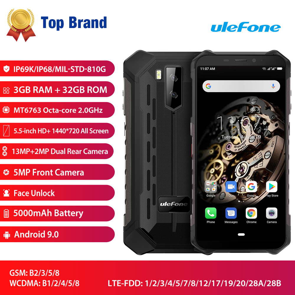 Original New Ulefone Armor X5 Waterproof Android 9.0 Smartphone MT6763 Octa Core 5.5'' 4G LTE 5000mAh 13MP NFC OTG Mobile Phone