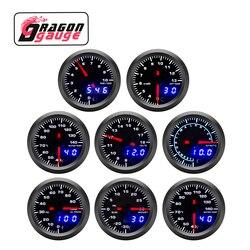 52 dragão 52 52mm tacômetro prm impulso medidor de tensão egt medidor temperatura da água óleo temp pressão do carro apto para 12v carro