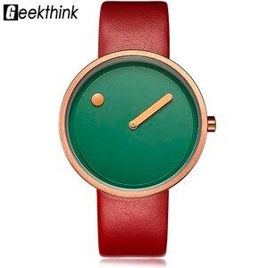 Image 3 - Top Creative Designer Brand Quartz Watch Men Leather Casual Unisex Simple Wrist watch Clock Male Gift  relogio Masculino