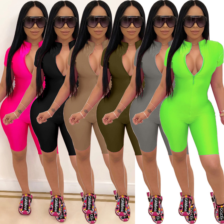 Casual Summer Neon Playsuit Solid Rompers Womens Bandage Bodycon Short Jumpsuit Slim Elastic Tracksuit Female Overalls Plus Size