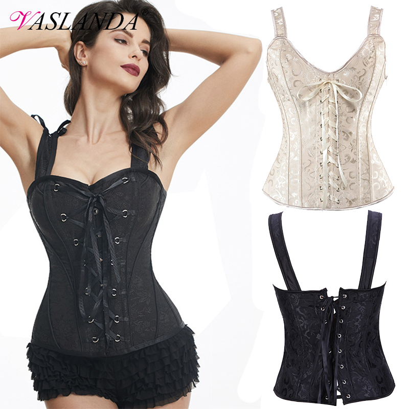 VASLANDA Sexy Lace Up Gothic   Corset   Overbust   Bustiers   Burlesque Outfit Steampunk Corselet Zipper Shoulder Straps Tank Tops