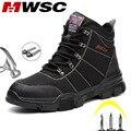 Mwsc trabalho sapatos de segurança para homens construção botas de tornozelo masculino segurança toe tampão sapatos masculinos anti-smashing instruction botas