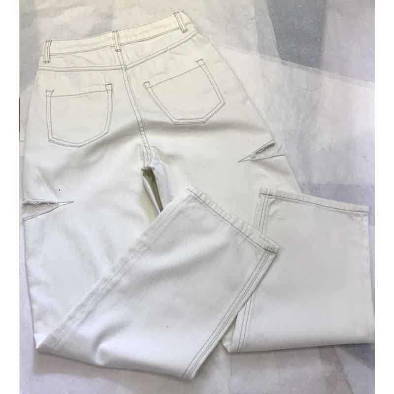 Cosmicchic 2020ผู้หญิงตรงกางเกงยีนส์สีขาวยืดหยุ่นสูงเอวRetroกางเกงยีนส์ยาวLotus Leafเอวหญิงกว้างขากางเกงGothic