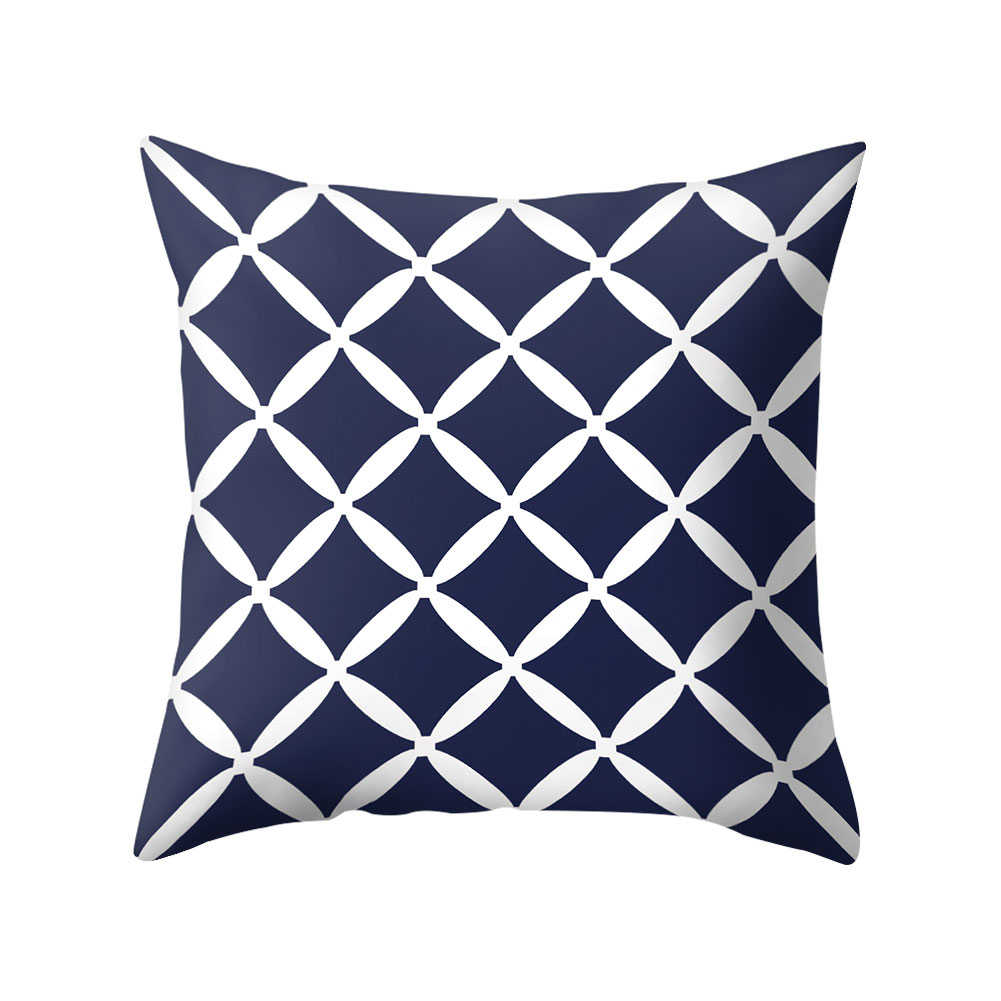 Granatowy geometryczny poduszka we wzór okładki poszewki dekoracyjne poduszki do dekoracji wnętrz poszewka na poduszkę z poliestru 45*45cm
