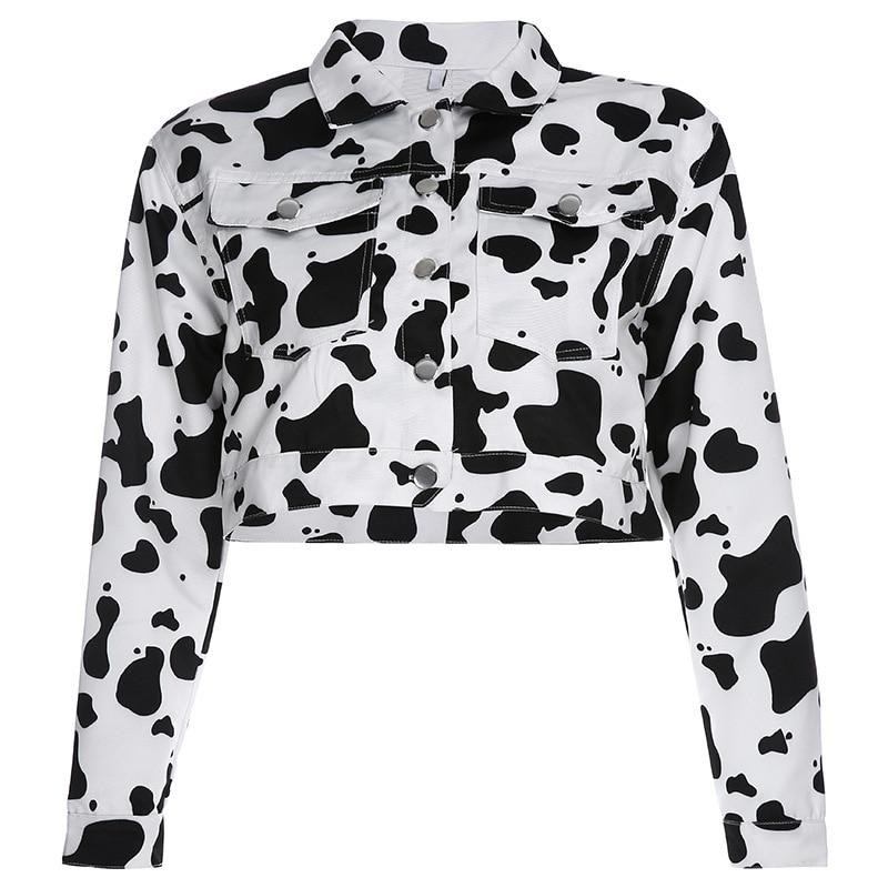 Focal20 Streetwear Black and White Cow Print Women Jacket Turn Down Collar Loose Women Jacket Autumn Color Block Lady Jacket 3