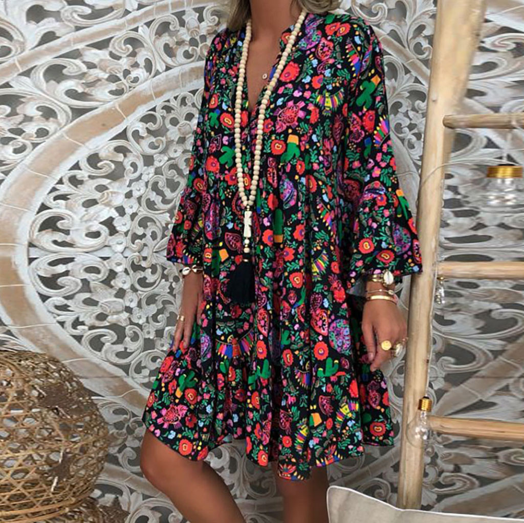 H6d64395fade4432b9801311bff11ccc8E Spring Autumn Women Dress Plus Size 5XL Loose Print Long Sleeve V-Collar Button Party Dresses Casual Loose Women Dresses 2019