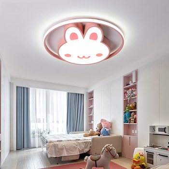 Cute Girls Room Led Ceiling Light Pink Rabbit Animal Kids Bedroom Light Ceiling Princess Children Baby Room Kids Ceiling Light