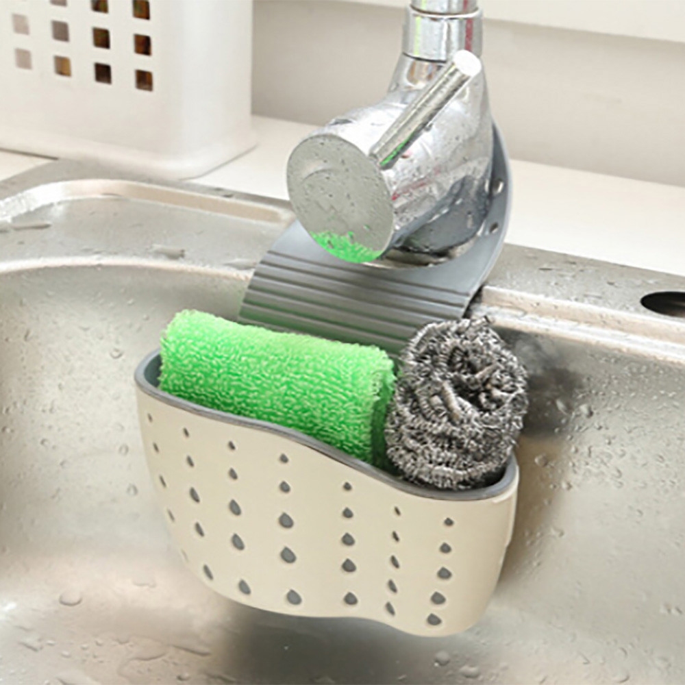Useful Suction Cup Kitchen Sponge Drain Holder PP Rubber Toilet Soap Shelf Organizer Sponge Storage Rack Basket Wash Cloth Tools