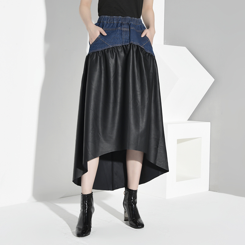 [LANMREM] 2020 New Spring Summer High Elastic Waist Black Half-body Skirt Women Fashion Tide PU Patchwork Denim JO27301