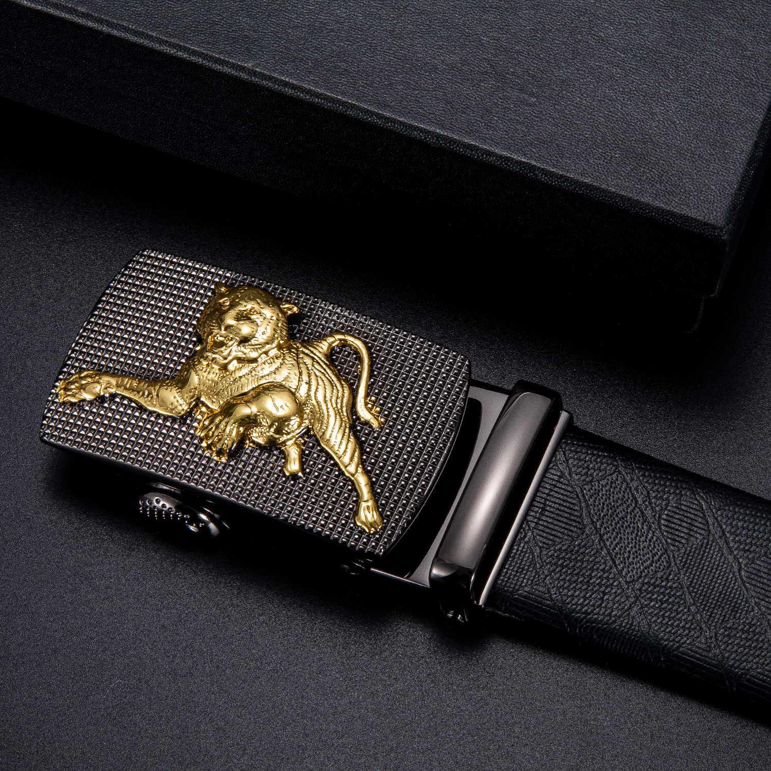Hi-Tie Fashion Men's Business Alloy Automatic Buckle Unique Men Tiger Belt Buckles For 3.5cm Ratchet Men Apparel Accessories