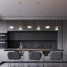 โมเดิร์นไฟ LED จี้ห้องรับประทานอาหารแขวนโคมไฟเหล็กอะคริลิคห้องนั่งเล่นสีดำ/โคมไฟสีทอง Nordic เคาน์เตอร์บาร์ติดตั้ง