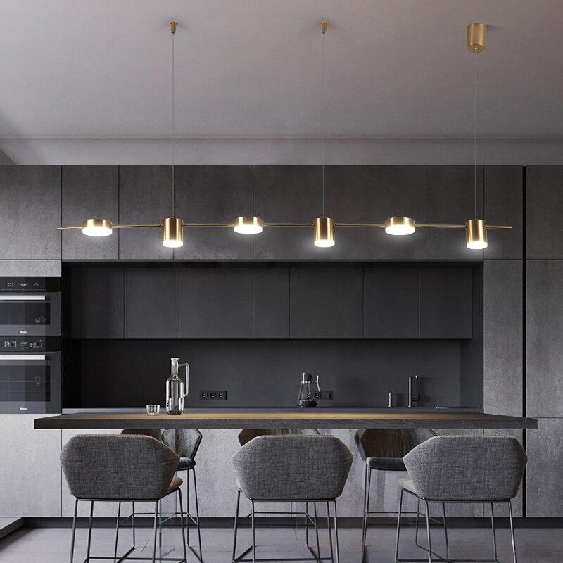Nordique noir pendentif LED lumières salle à manger barre fer acrylique salon bande suspension lampe doré luxe luminaires