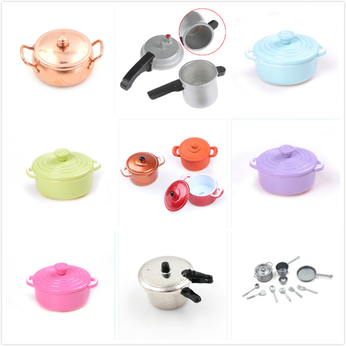 1//12 Dollhouse Kitchen Accessories Mini Furniture Model Toy Pots and Pans