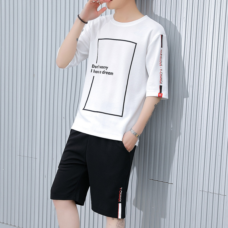 New Style Sports Set Men Korean-style Casual Two-Piece Set Students Summer Short-sleeved Loose-Fit Hoodie T-shirt Men's Popular