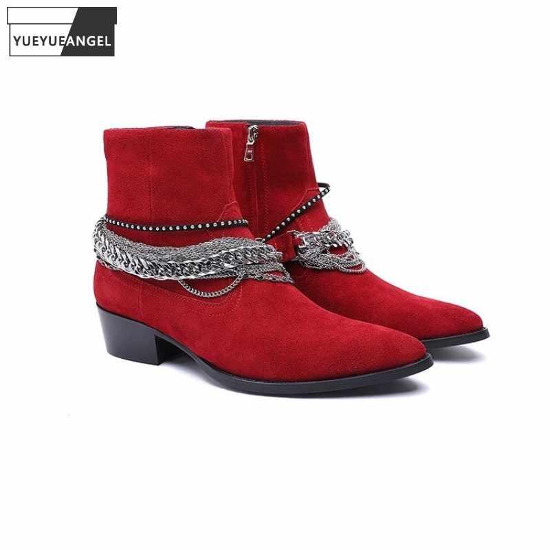 2019 Fashion Homme Bottines en Cuir à Boucle Décontracté Bout Pointu Chaussures Fête Bottes