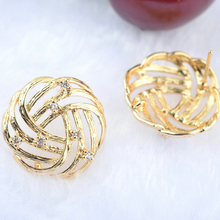 4 Pcs Flower 20 *19 Mm 24 K Gold Color Brass Zirkon Rose Stud Earrings Pins High Quality Jewellery Accessories