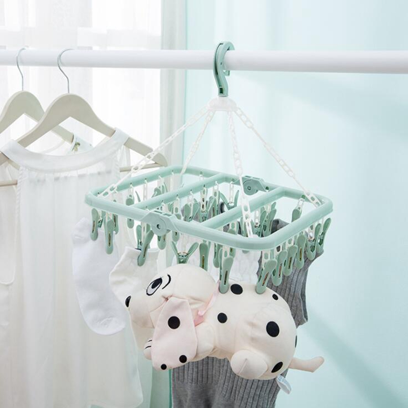 32 Clips Folding Clothes Dryer Hanger Children Adults Clothes Dryer Windproof Socks Underwear Plastic Drying Rack