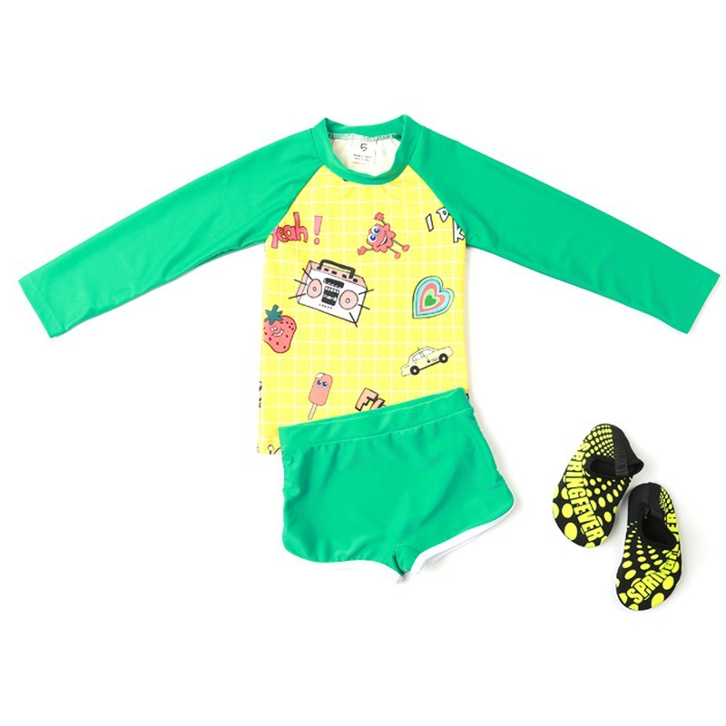 BOY'S Swimsuit Children Split Type Long Sleeve Sun-resistant Quick-Dry Big Boy Small CHILDREN'S Boy Baby Swimwear Korean-style