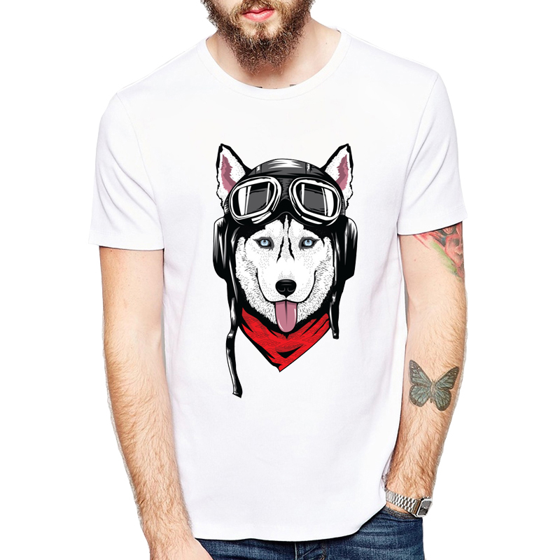 Husky With Helmet Printed Men T Shirt Short Sleeve Casual T-shirt Hipster Pocket Cute Siberian Husky/ Chihuahua Tees Cool Tops