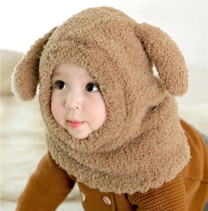 2019 Kids Plush Hooded Scarf Baby Hat And Scarf Child Winter Warm Protection Ear Hat Girl Boy Cute Big Ears Cap Accessories