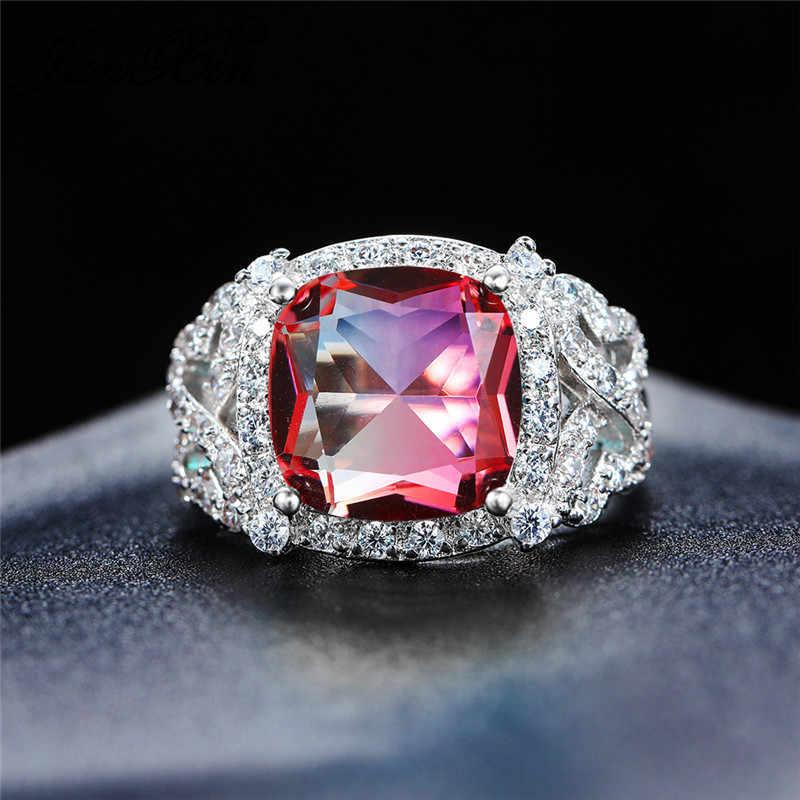 Gradient Rainbow Fire คริสตัลหมั้นแหวน 925 เงินสีเขียวสีเขียวสีแดงสีฟ้าหินบิ๊กสแควร์แต่งงานแหวนสำหรับสตรี