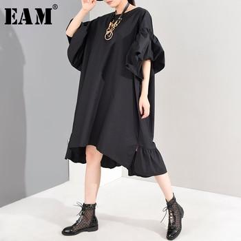 [EAM] Women Black Irregular Ruffles Big Size Dress New Round Neck Puff Sleeve Loose Fit Fashion Tide Spring Summer 2020 1W19001
