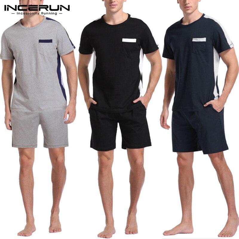 INCERUN Men Pajamas Sets Summer Patchwork Short Sleeve Sleepwear Suit Shorts Nightwear Bodybuilding Men Sets Lounge Homewear 5XL