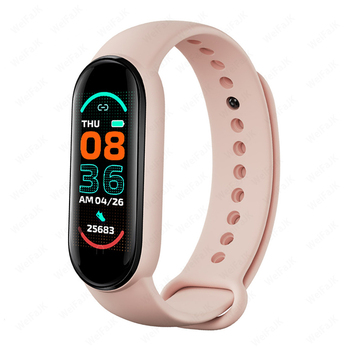 M6 Smart Band Watch Men Women Bluetooth Smartwatch Heart Rate Fitness Tracking Sports Bracelet For Apple Xiaomi Watches Bluetooth Device Electronics M6 Smart Electronics Smart Watches Xiaomi Color: Pink