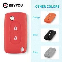 Мягкий силиконовый защитный чехол KEYYOU с 2 кнопками для Peugeot 207 307 308 407 408 для Citroen C3 C4 C4L C5 C6