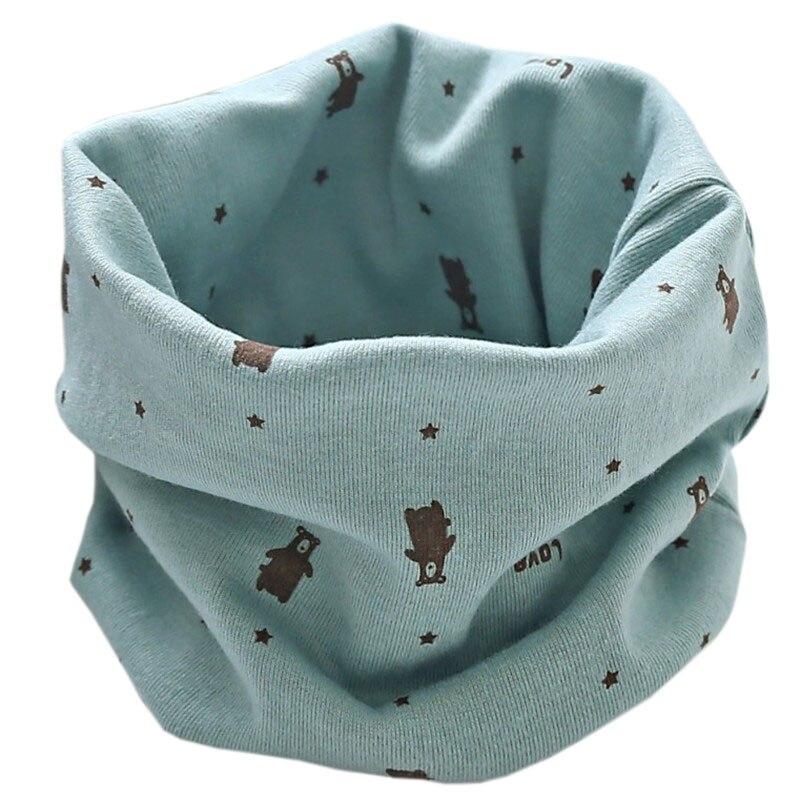 Новинка; Модный хлопковый шарф для маленьких девочек; осенне-зимний шарф для маленьких мальчиков; Детский шарф с круглым вырезом; Детские шарфы; волшебный шейный платок - Цвет: green bear