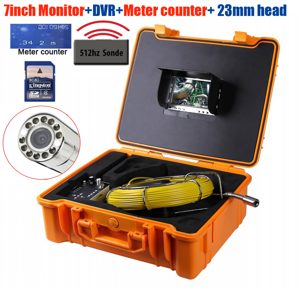 Original Bestwill 50M sony Endoscope Snake Sewer Camera Pipe Wall Inspection DVR Camera with meter counter