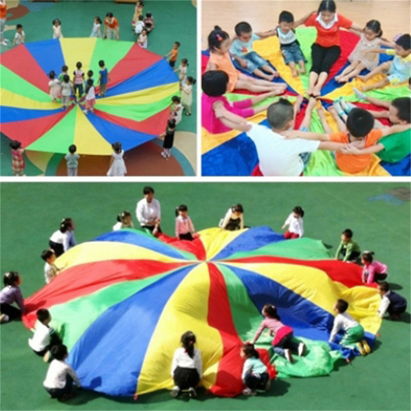 Hot Diameter 2M Child Kid Sports Development Outdoor Rainbow Umbrella Parachute Toy Jump-sack Ballute Play Parachute 8 Bracelet