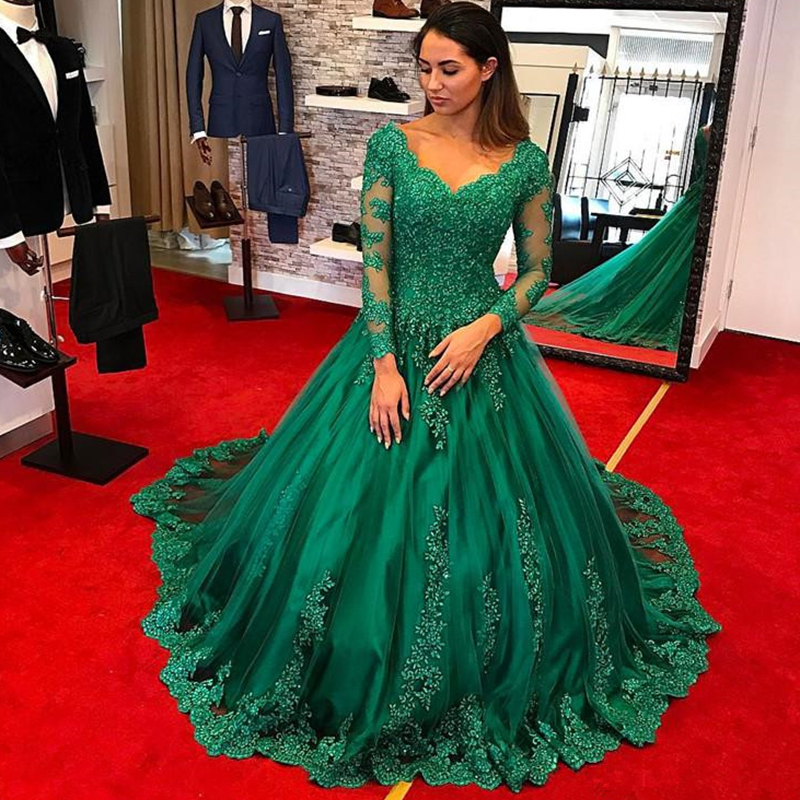 Green Lace Mother Of The Bride Dresses For Weddings Long Sleeve Ball Gown Evening Groom Godmother Dresses