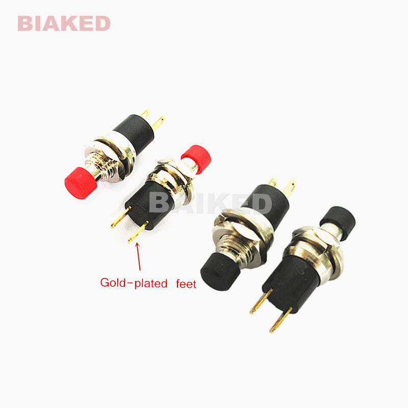 PB05A ON-OFF 1A 250V 3A 125V AC DC Boutique Self-Locking SPST Normally Open Mini Push Switch 7MM Small Button With Gold-plated