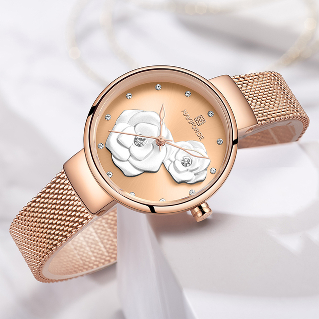 Women Watch Set for Sale NAVIFORCE Top Luxury Brand Steel Mesh Waterproof Ladies Watches Flower Quartz Charming Girl Clock