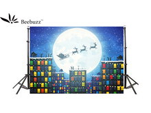 цена на Beebuzz photo background santa claus rides a sleigh to deliver gifts christmas backdrop