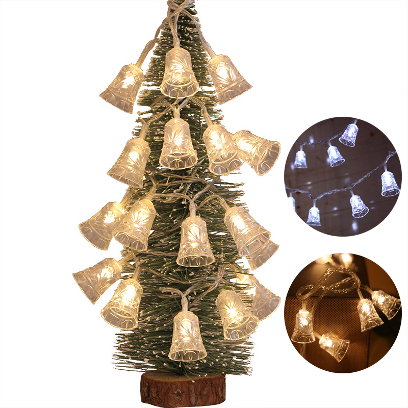 1.2m/2.5m/5m LED Light String Christmas Bell Fairy Lights Outdoor Battery Garland Christmas Tree Decoration Party Wedding Xmas