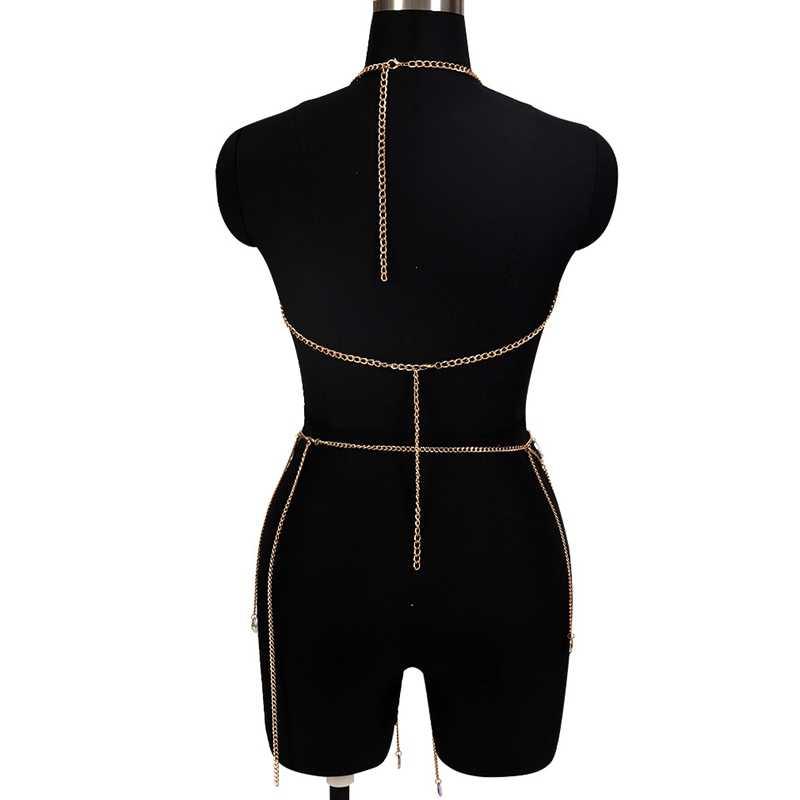 Tassel metalowy łańcuch wielu warstwa akrylowa szwy kapanie biustonosz Sexy szelki łańcuch nadwozia/belly Chain spódnica zestaw kobiet Bikini plaża Goth rave
