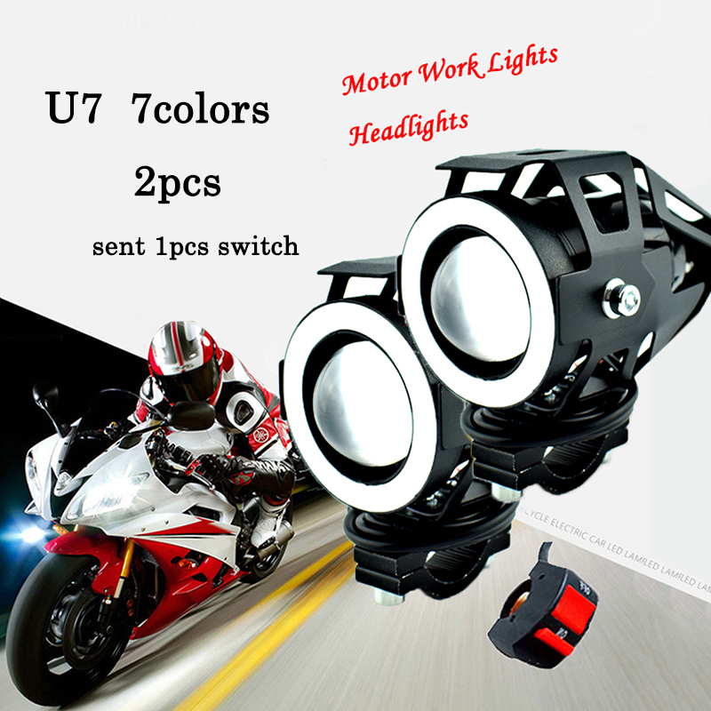 motorcycle  u7 7colors led falsh angel eyes lights moto Colorful spot work head lamp motorbike headlights work auxiliary lights|  - title=