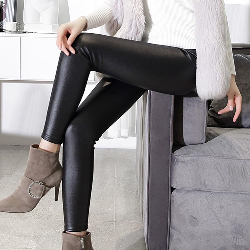 Fashion Women's Solid Black High-waist Elastic Pencil Pants Sexy Tight PU Coating Imitate Leather Trousers