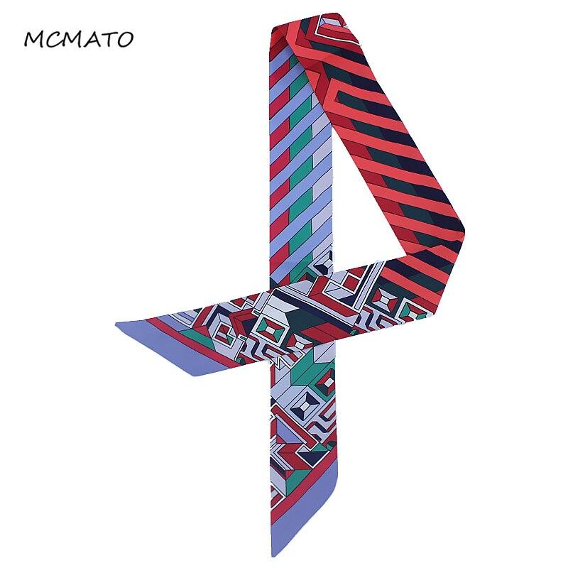 New Fashion Striped Flaid Lattice Print Silk Scarf For Bag Ribbons Womens Luxury Brand Head Scarf Scarf Small Long Scarves Tie