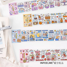 Cartoon hand Account Decoration stickers Food Series Washi Masking Tape Stickers Scrapbooking Stationery Decorative Long Strip