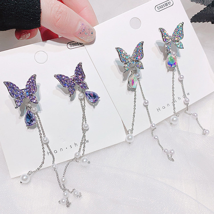 High-quality crystal purple/dazzling white butterfly sparkling long earrings exaggerated two earrings