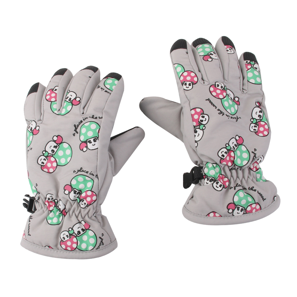 1 Pair Winter Warm Breathable 2-4 Years Children Kids Ski Gloves Light Gray Outdoor Waterproof Snow Skiing Gloves
