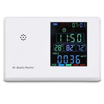 Formaldehyde PM2.5 CO2 Meter TVOC AQI Carbon Dioxide Detector Gas Analyzer Air Quality Tester with Alarm Clock